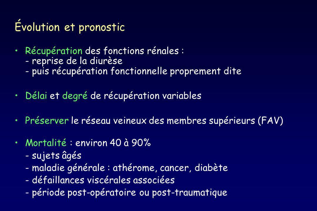 Évolution et pronostic Récupération des fonctions rénales : - reprise de la diurèse - puis récupération fonctionnelle proprement dite Délai et degré d