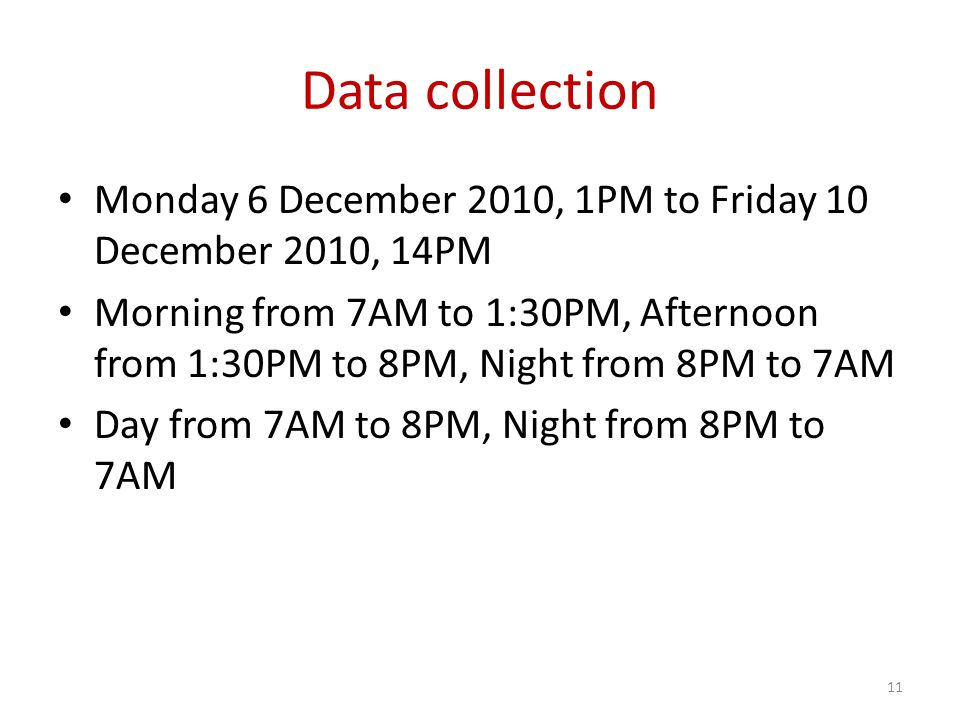 Data collection Monday 6 December 2010, 1PM to Friday 10 December 2010, 14PM Morning from 7AM to 1:30PM, Afternoon from 1:30PM to 8PM, Night from 8PM