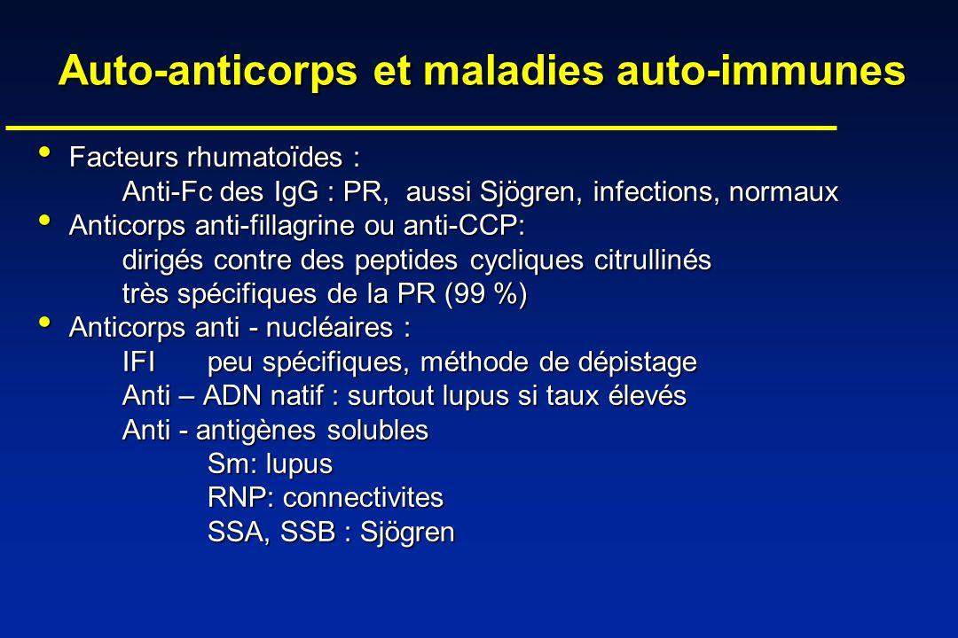 Auto-anticorps et maladies auto-immunes Facteurs rhumatoïdes : Facteurs rhumatoïdes : Anti-Fc des IgG : PR, aussi Sjögren, infections, normaux Anticor