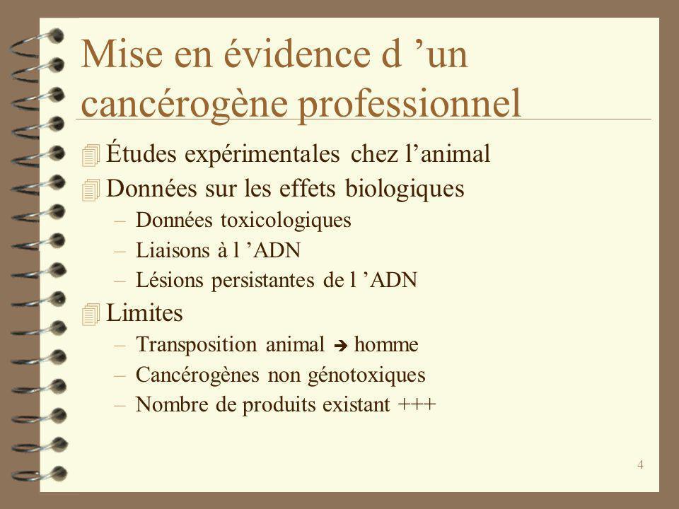 4 Mise en évidence d un cancérogène professionnel 4 Études expérimentales chez lanimal 4 Données sur les effets biologiques –Données toxicologiques –Liaisons à l ADN –Lésions persistantes de l ADN 4 Limites –Transposition animal homme –Cancérogènes non génotoxiques –Nombre de produits existant +++