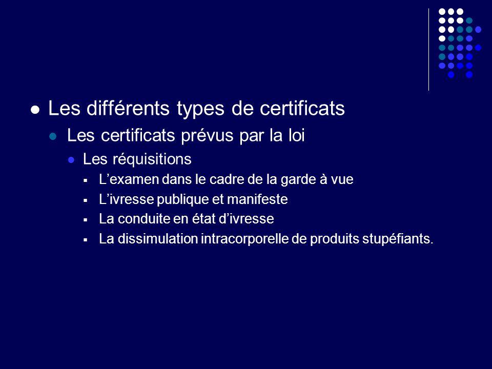 Les différents types de certificats Les certificats prévus par la loi Les réquisitions Lexamen dans le cadre de la garde à vue Livresse publique et ma