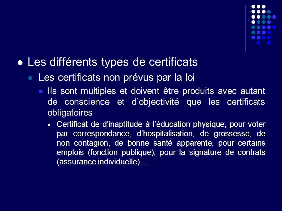 Les différents types de certificats Les certificats non prévus par la loi Ils sont multiples et doivent être produits avec autant de conscience et dob