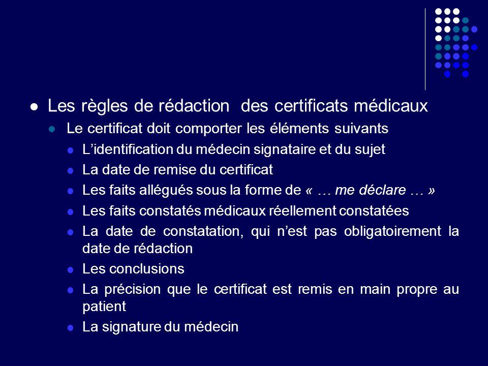 Les règles de rédaction des certificats médicaux Le certificat doit comporter les éléments suivants Lidentification du médecin signataire et du sujet