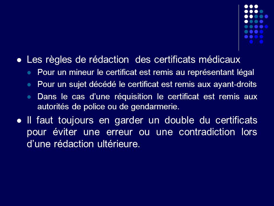 Les règles de rédaction des certificats médicaux Pour un mineur le certificat est remis au représentant légal Pour un sujet décédé le certificat est r