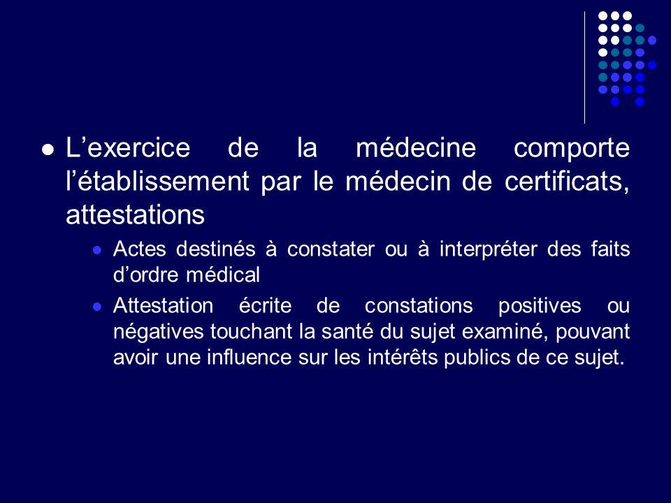 Lexercice de la médecine comporte létablissement par le médecin de certificats, attestations Actes destinés à constater ou à interpréter des faits dor