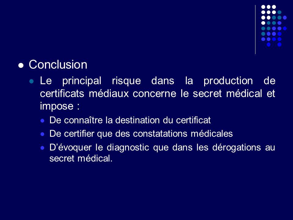 Conclusion Le principal risque dans la production de certificats médiaux concerne le secret médical et impose : De connaître la destination du certifi