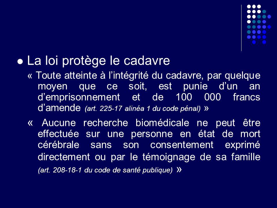 La loi protège le cadavre « Toute atteinte à lintégrité du cadavre, par quelque moyen que ce soit, est punie dun an demprisonnement et de 100 000 fran