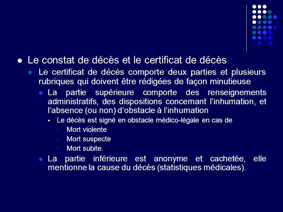 Le constat de décès et le certificat de décès Le certificat de décès comporte deux parties et plusieurs rubriques qui doivent être rédigées de façon m