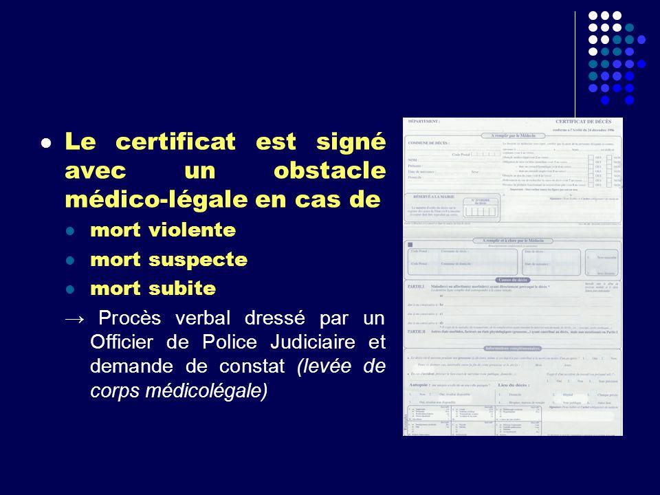 Le certificat est signé avec un obstacle médico-légale en cas de mort violente mort suspecte mort subite Procès verbal dressé par un Officier de Polic