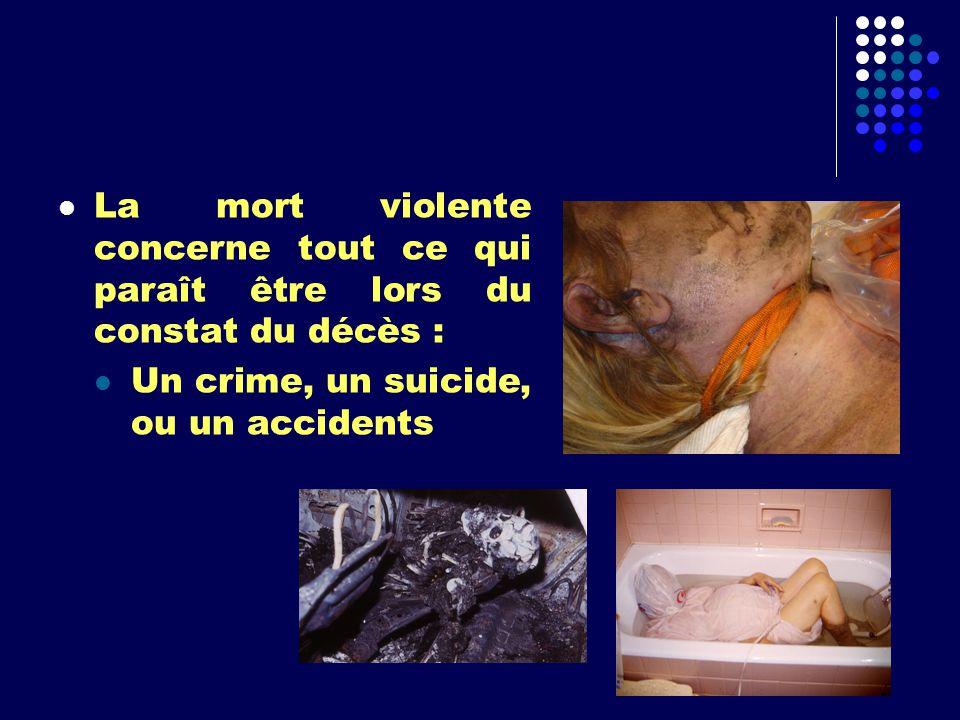 La mort violente concerne tout ce qui paraît être lors du constat du décès : Un crime, un suicide, ou un accidents