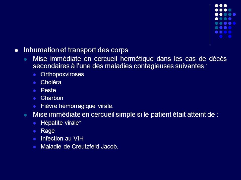 Inhumation et transport des corps Mise immédiate en cercueil hermétique dans les cas de décès secondaires à lune des maladies contagieuses suivantes :