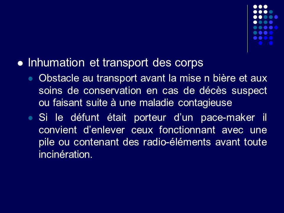 Inhumation et transport des corps Obstacle au transport avant la mise n bière et aux soins de conservation en cas de décès suspect ou faisant suite à