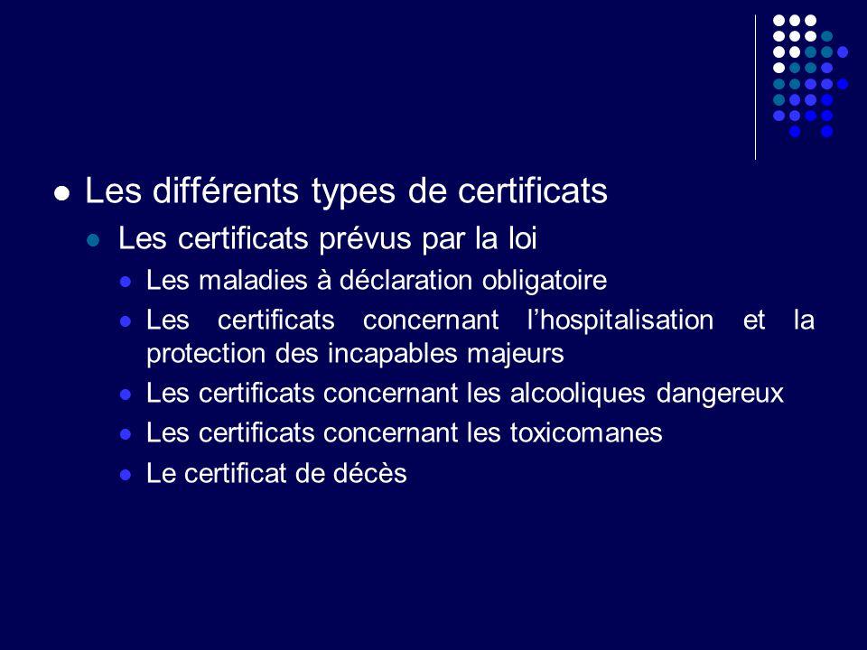 Les différents types de certificats Les certificats prévus par la loi Les certificats destinés à obtenir des avantages sociaux Accident de travail, arrêt maladie …