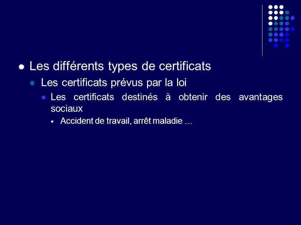 Les différents types de certificats Les certificats prévus par la loi Les certificats destinés à obtenir des avantages sociaux Accident de travail, ar