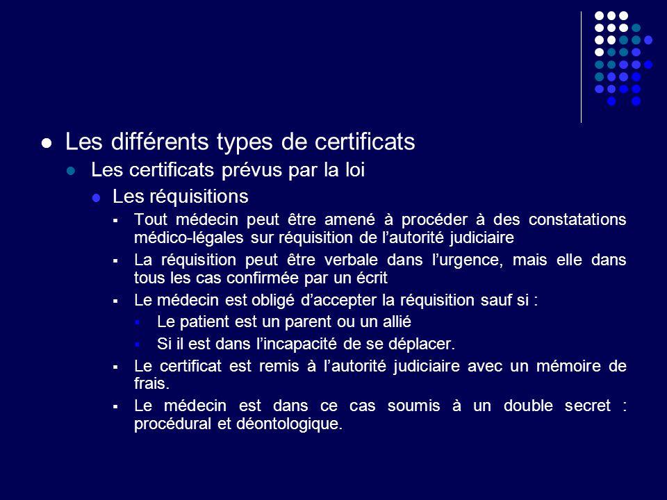 Les différents types de certificats Les certificats prévus par la loi Les réquisitions Constatation de coups et blessures et fixation de lITT dont la durée détermine la juridiction compétente En cas de blessure volontaire - ITT 8 jours tribunal de police - ITT > 8 jours tribunal correctionnel En de blessure involontaire - ITT 3 mois tribunal de police - ITT > 3 mois tribunal correctionnel