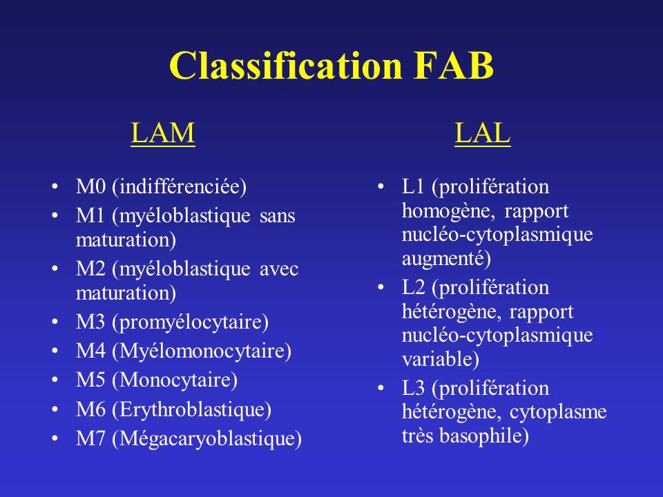 Classification FAB M0 (indifférenciée) M1 (myéloblastique sans maturation) M2 (myéloblastique avec maturation) M3 (promyélocytaire) M4 (Myélomonocytai