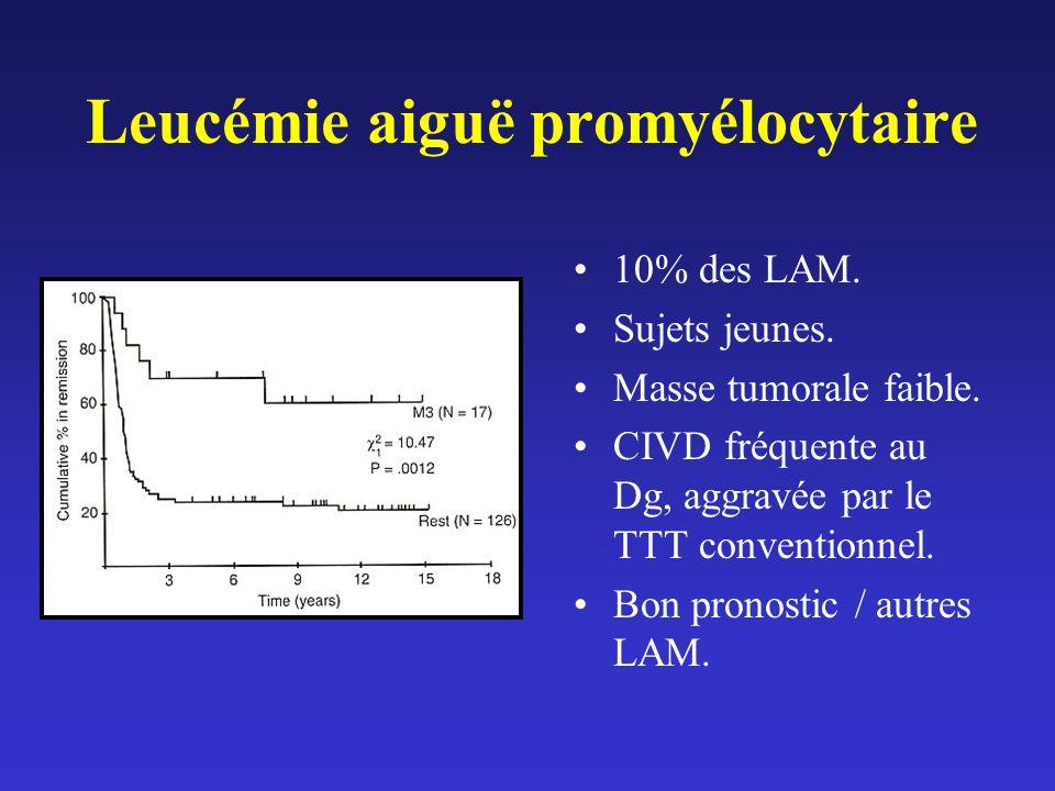 Leucémie aiguë promyélocytaire 10% des LAM. Sujets jeunes. Masse tumorale faible. CIVD fréquente au Dg, aggravée par le TTT conventionnel. Bon pronost