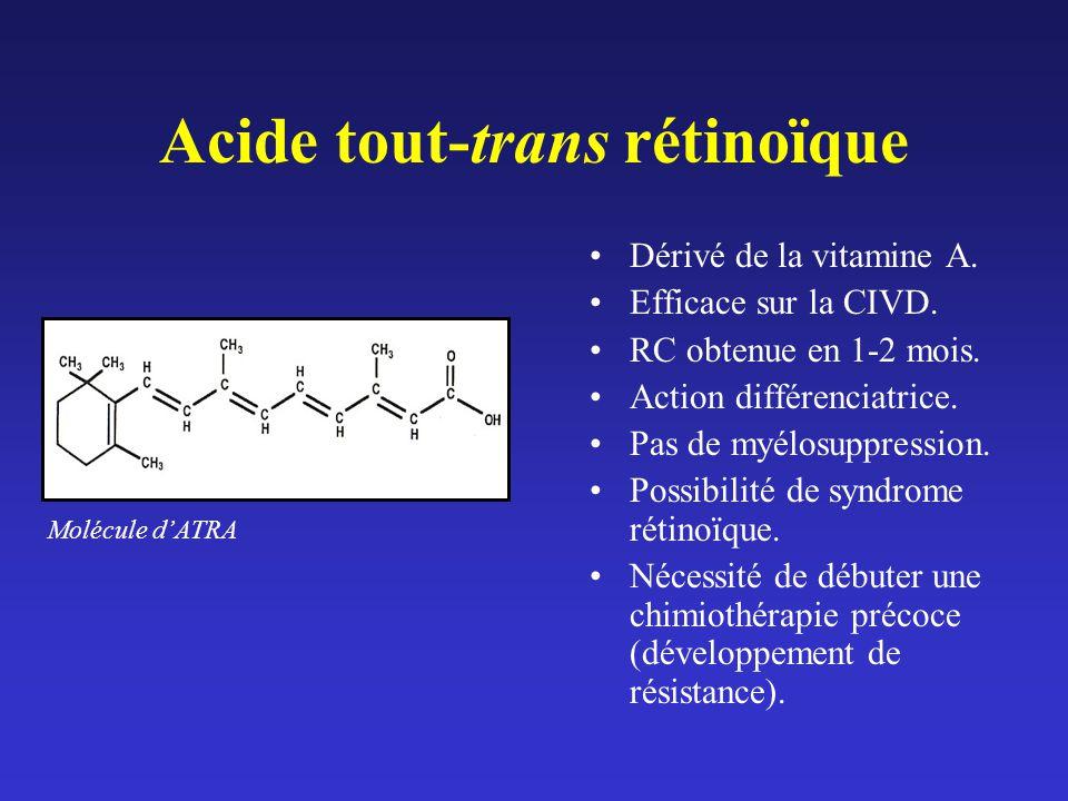 Acide tout-trans rétinoïque Dérivé de la vitamine A. Efficace sur la CIVD. RC obtenue en 1-2 mois. Action différenciatrice. Pas de myélosuppression. P