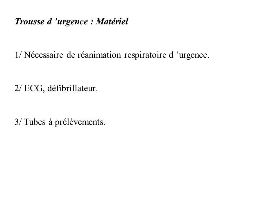 Trousse d urgence : Matériel 1/ Nécessaire de réanimation respiratoire d urgence. 2/ ECG, défibrillateur. 3/ Tubes à prélèvements.