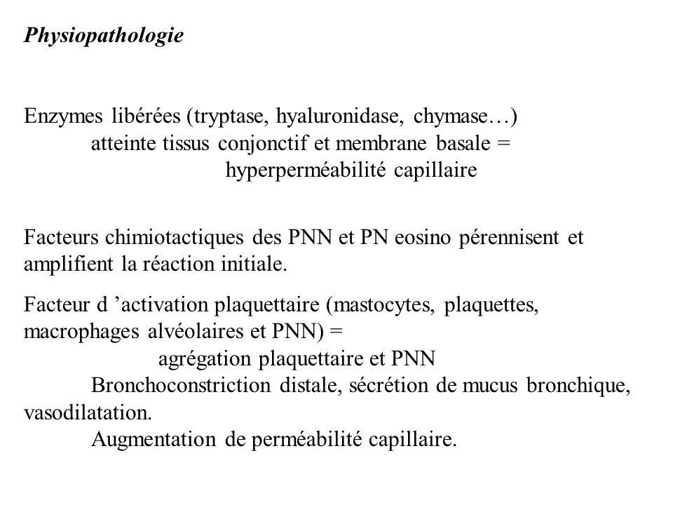 Physiopathologie Enzymes libérées (tryptase, hyaluronidase, chymase…) atteinte tissus conjonctif et membrane basale = hyperperméabilité capillaire Fac