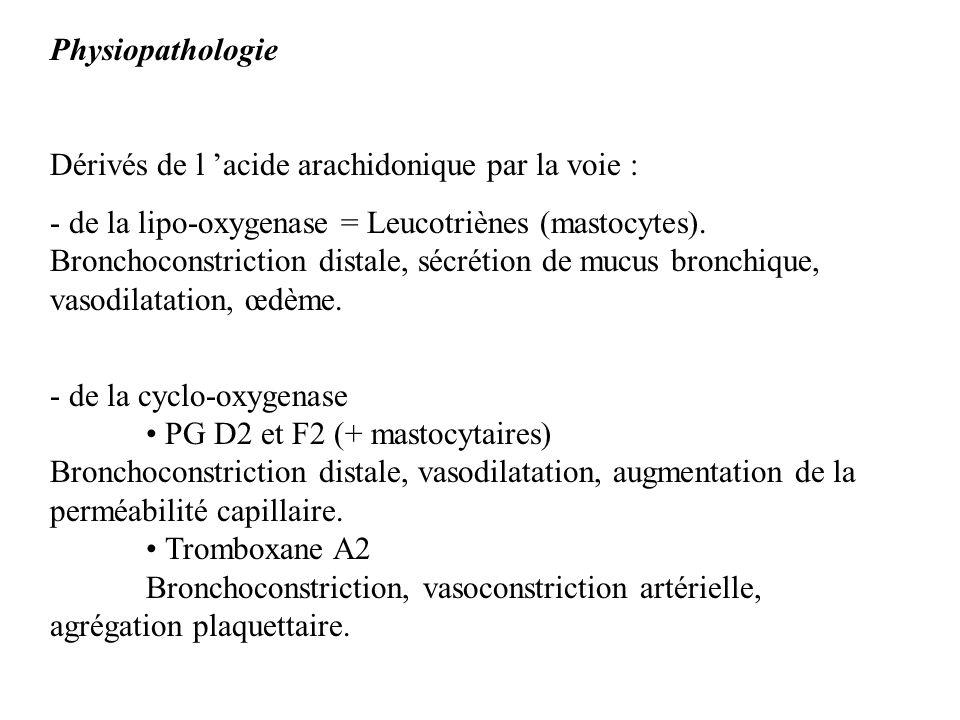 Physiopathologie Dérivés de l acide arachidonique par la voie : - de la lipo-oxygenase = Leucotriènes (mastocytes). Bronchoconstriction distale, sécré
