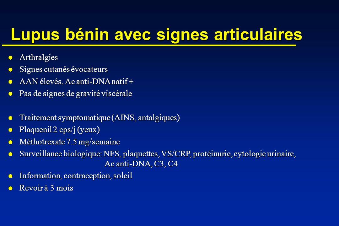 Lupus bénin avec signes articulaires Arthralgies Arthralgies Signes cutanés évocateurs Signes cutanés évocateurs AAN élevés, Ac anti-DNA natif + AAN élevés, Ac anti-DNA natif + Pas de signes de gravité viscérale Pas de signes de gravité viscérale Traitement symptomatique (AINS, antalgiques) Traitement symptomatique (AINS, antalgiques) Plaquenil 2 cps/j (yeux) Plaquenil 2 cps/j (yeux) Méthotrexate 7.5 mg/semaine Méthotrexate 7.5 mg/semaine Surveillance biologique: NFS, plaquettes, VS/CRP, protéinurie, cytologie urinaire, Ac anti-DNA, C3, C4 Surveillance biologique: NFS, plaquettes, VS/CRP, protéinurie, cytologie urinaire, Ac anti-DNA, C3, C4 Information, contraception, soleil Information, contraception, soleil Revoir à 3 mois Revoir à 3 mois