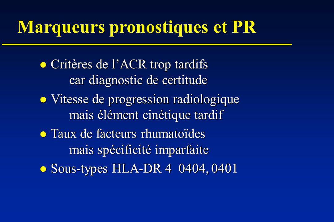 Marqueurs pronostiques et PR Critères de lACR trop tardifs car diagnostic de certitude Critères de lACR trop tardifs car diagnostic de certitude Vitesse de progression radiologique mais élément cinétique tardif Vitesse de progression radiologique mais élément cinétique tardif Taux de facteurs rhumatoïdes mais spécificité imparfaite Taux de facteurs rhumatoïdes mais spécificité imparfaite Sous-types HLA-DR 4 0404, 0401 Sous-types HLA-DR 4 0404, 0401