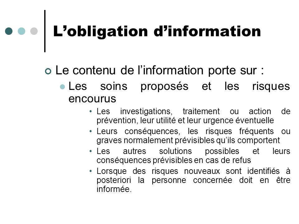 Lobligation dinformation Le contenu de linformation porte sur : Les soins proposés et les risques encourus Les investigations, traitement ou action de
