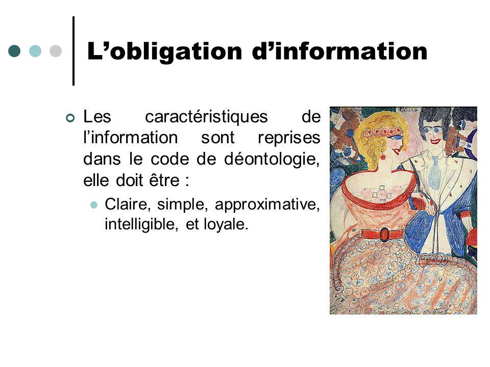 Lobligation dinformation Les caractéristiques de linformation sont reprises dans le code de déontologie, elle doit être : Claire, simple, approximativ