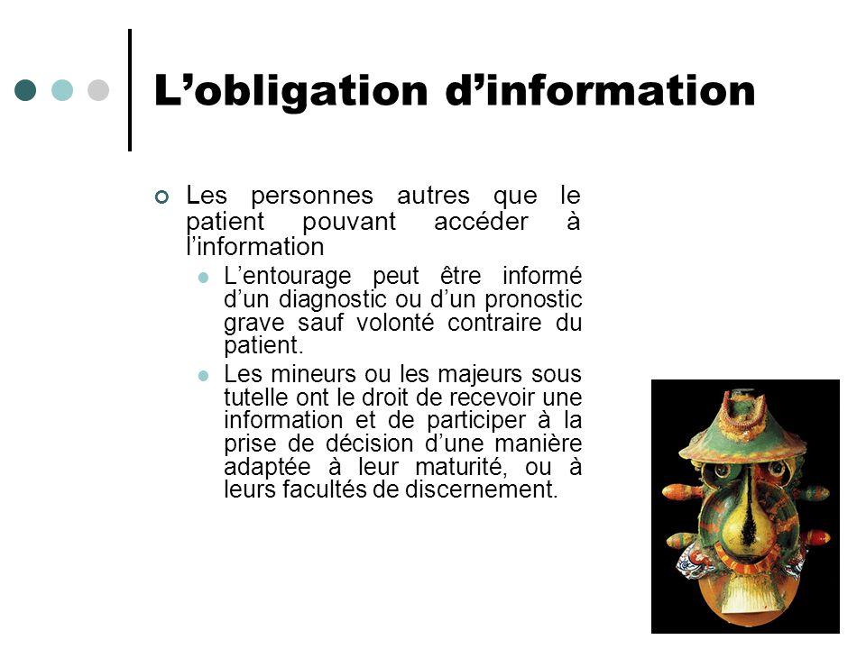 Lobligation dinformation Les personnes autres que le patient pouvant accéder à linformation Lentourage peut être informé dun diagnostic ou dun pronost