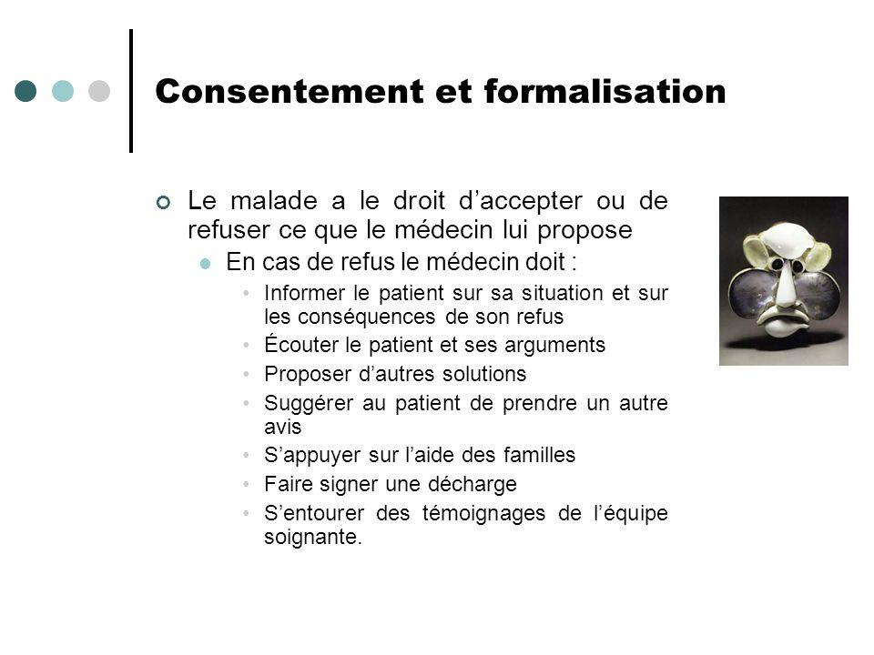 Consentement et formalisation Le malade a le droit daccepter ou de refuser ce que le médecin lui propose En cas de refus le médecin doit : Informer le