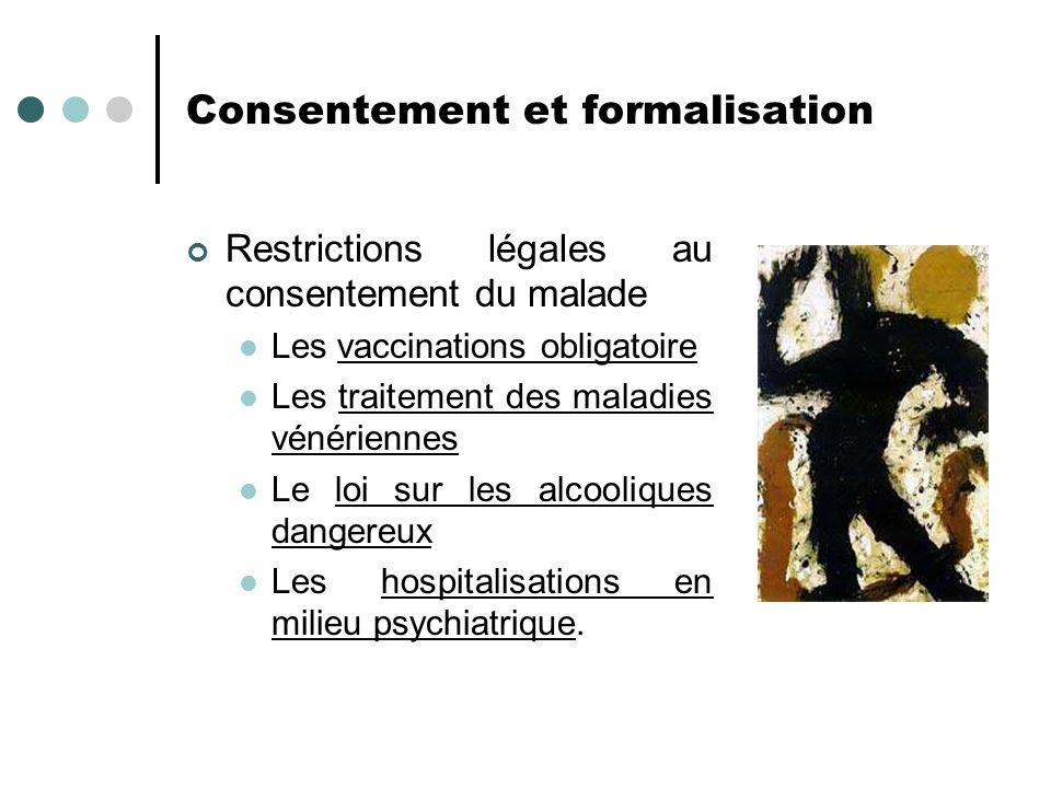 Consentement et formalisation Restrictions légales au consentement du malade Les vaccinations obligatoire Les traitement des maladies vénériennes Le l