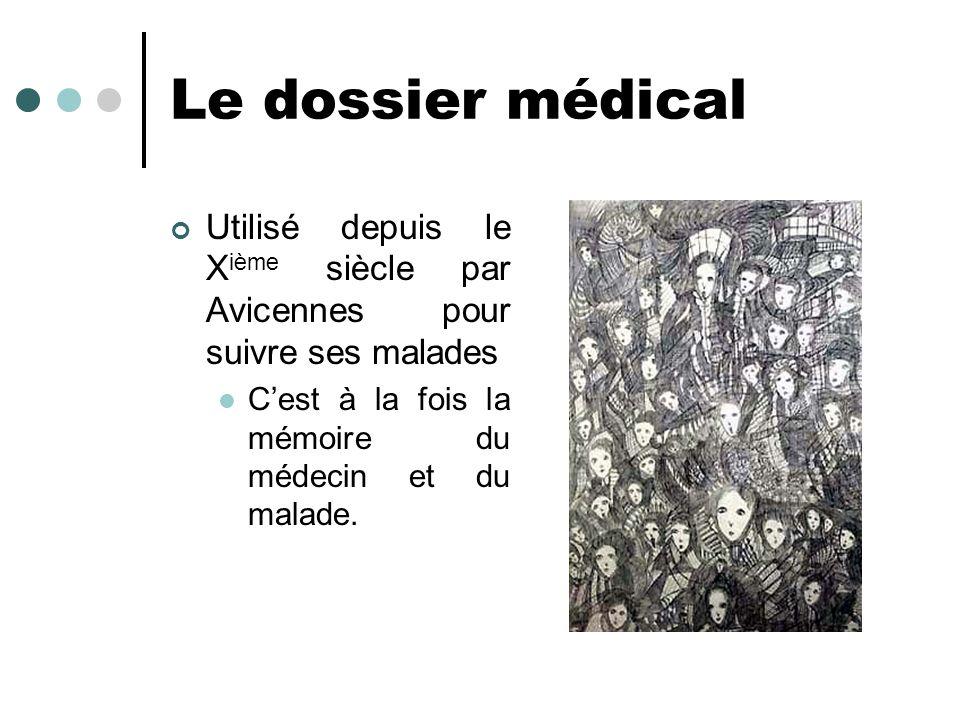 Le dossier médical Utilisé depuis le X ième siècle par Avicennes pour suivre ses malades Cest à la fois la mémoire du médecin et du malade.