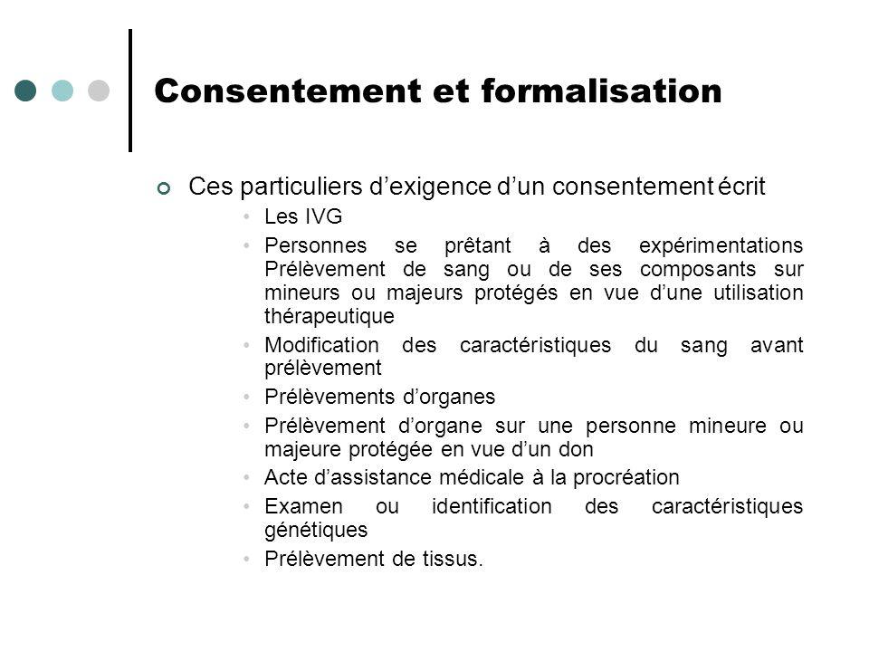 Consentement et formalisation Ces particuliers dexigence dun consentement écrit Les IVG Personnes se prêtant à des expérimentations Prélèvement de san