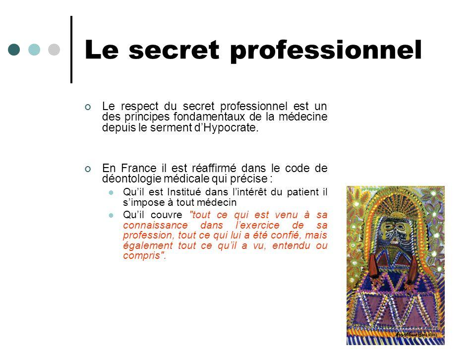 Le secret professionnel Le respect du secret professionnel est un des principes fondamentaux de la médecine depuis le serment dHypocrate. En France il
