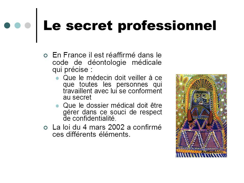 Le secret professionnel En France il est réaffirmé dans le code de déontologie médicale qui précise : Que le médecin doit veiller à ce que toutes les