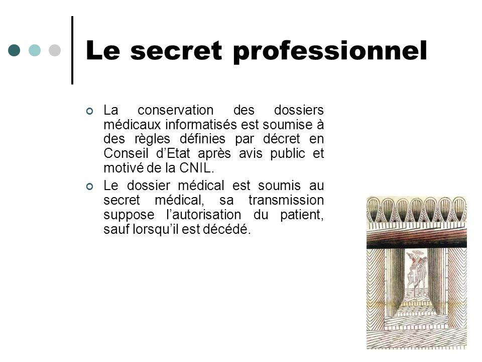 Le secret professionnel La conservation des dossiers médicaux informatisés est soumise à des règles définies par décret en Conseil dEtat après avis pu