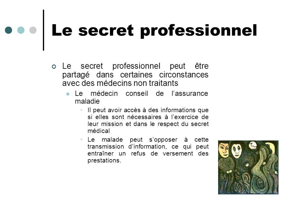 Le secret professionnel Le secret professionnel peut être partagé dans certaines circonstances avec des médecins non traitants Le médecin conseil de l