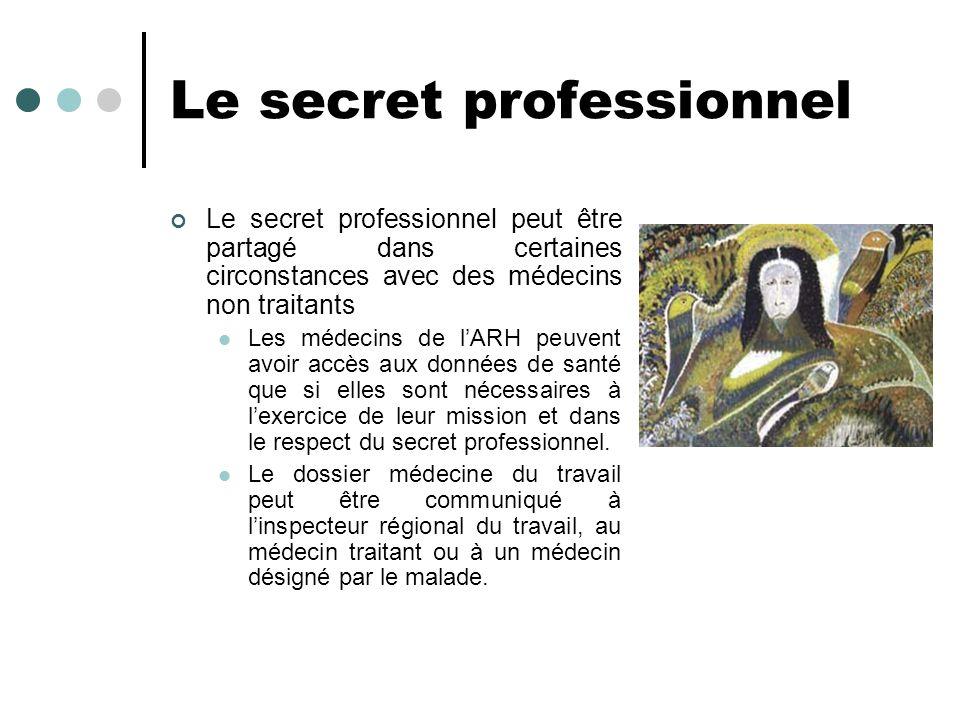 Le secret professionnel Le secret professionnel peut être partagé dans certaines circonstances avec des médecins non traitants Les médecins de lARH pe