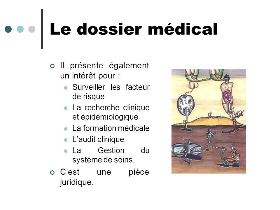 Le dossier médical Il présente également un intérêt pour : Surveiller les facteur de risque La recherche clinique et épidémiologique La formation médi