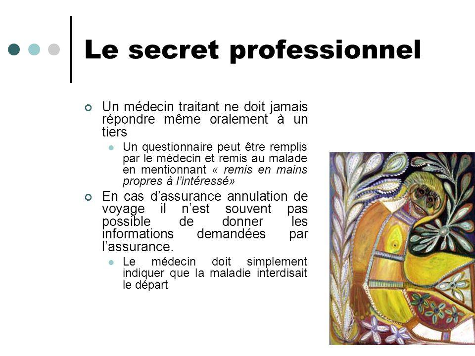 Le secret professionnel Un médecin traitant ne doit jamais répondre même oralement à un tiers Un questionnaire peut être remplis par le médecin et rem