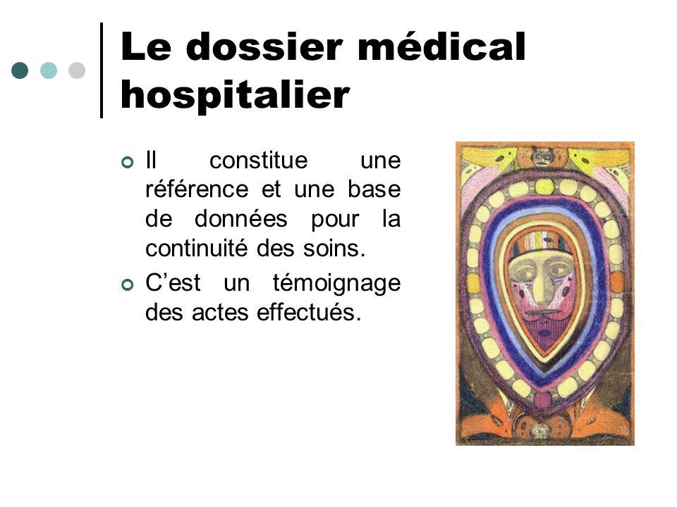 Le dossier médical hospitalier Il constitue une référence et une base de données pour la continuité des soins. Cest un témoignage des actes effectués.