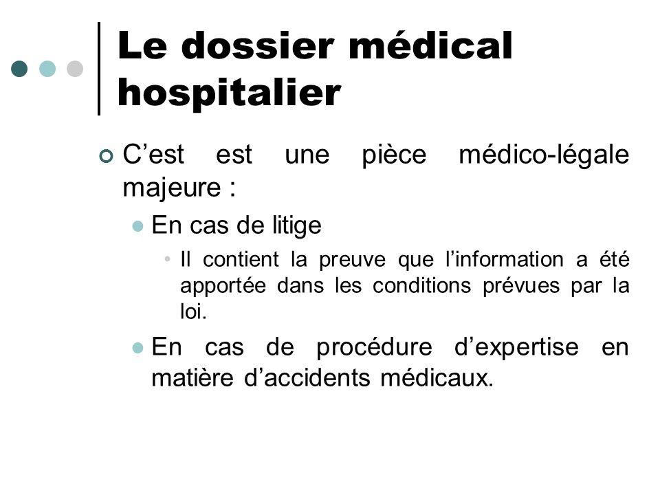 Le dossier médical hospitalier Cest est une pièce médico-légale majeure : En cas de litige Il contient la preuve que linformation a été apportée dans