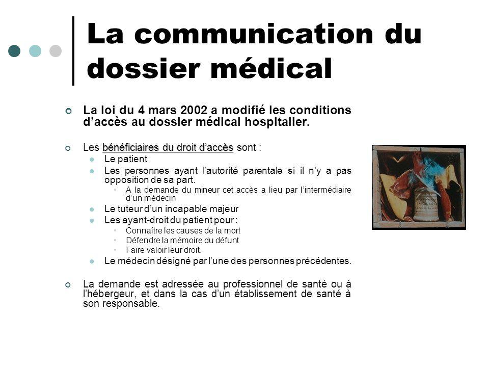 La communication du dossier médical La loi du 4 mars 2002 a modifié les conditions daccès au dossier médical hospitalier. bénéficiaires du droit daccè