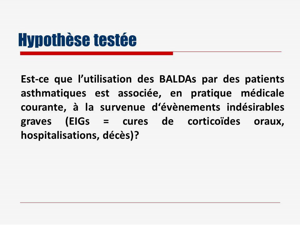 Hypothèse testée Est-ce que lutilisation des BALDAs par des patients asthmatiques est associée, en pratique médicale courante, à la survenue dévènements indésirables graves (EIGs = cures de corticoïdes oraux, hospitalisations, décès)?