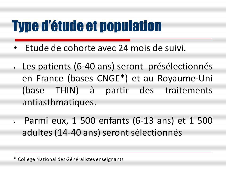 Type détude et population Etude de cohorte avec 24 mois de suivi. Les patients (6-40 ans) seront présélectionnés en France (bases CNGE*) et au Royaume