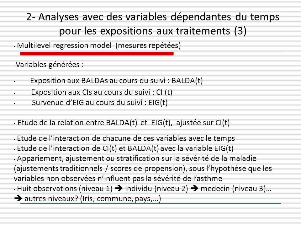 Multilevel regression model (mesures répétées) Variables générées : Exposition aux BALDAs au cours du suivi : BALDA(t) Exposition aux CIs au cours du suivi : CI (t) Survenue dEIG au cours du suivi : EIG(t) Etude de la relation entre BALDA(t) et EIG(t), ajustée sur CI(t) Etude de linteraction de chacune de ces variables avec le temps Etude de linteraction de CI(t) et BALDA(t) avec la variable EIG(t) Appariement, ajustement ou stratification sur la sévérité de la maladie (ajustements traditionnels / scores de propension), sous lhypothèse que les variables non observées ninfluent pas la sévérité de lasthme Huit observations (niveau 1) individu (niveau 2) medecin (niveau 3)… autres niveaux.