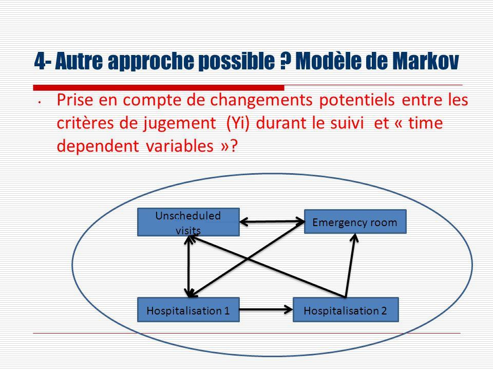 4- Autre approche possible ? Modèle de Markov Prise en compte de changements potentiels entre les critères de jugement (Yi) durant le suivi et « time