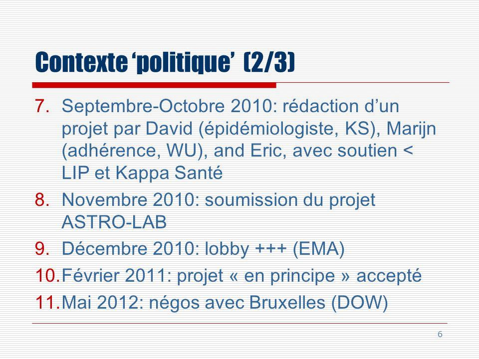 Contexte politique (2/3) 7.Septembre-Octobre 2010: rédaction dun projet par David (épidémiologiste, KS), Marijn (adhérence, WU), and Eric, avec soutien < LIP et Kappa Santé 8.Novembre 2010: soumission du projet ASTRO-LAB 9.Décembre 2010: lobby +++ (EMA) 10.Février 2011: projet « en principe » accepté 11.Mai 2012: négos avec Bruxelles (DOW) 6
