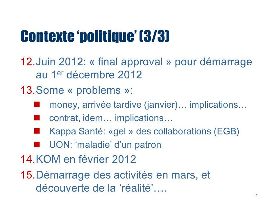Contexte politique (3/3) 12.Juin 2012: « final approval » pour démarrage au 1 er décembre 2012 13.Some « problems »: money, arrivée tardive (janvier)…